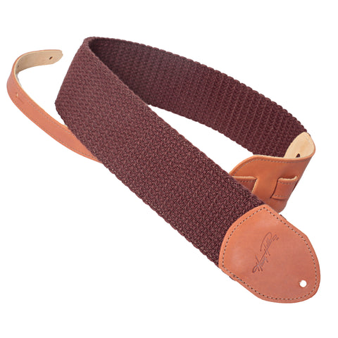 "Henry Heller 3"" Wide Brown Woven Cotton Guitar Strap"
