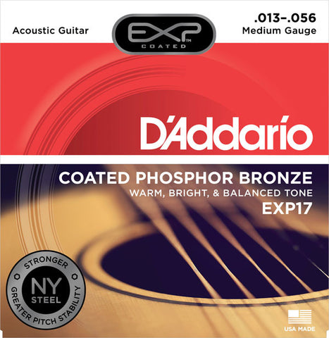 D'Addario EXP17 Coated Phosphor Bronze 13-56 Medium Acoustic Guitar Strings