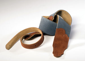 "Franklin Strap, Sedona Suede 2.5"" Leather, Gray With Rust Tab"