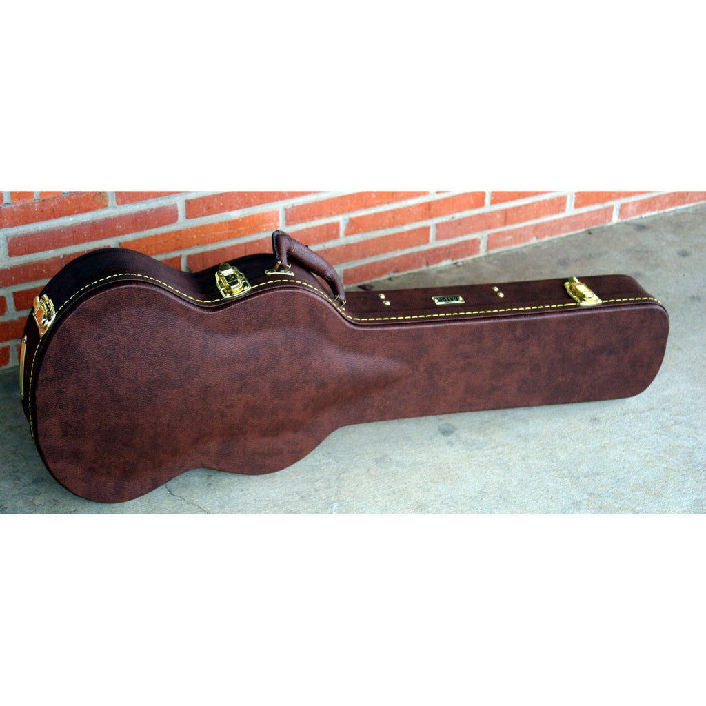 Gator SG Wooden Hard Case, Brown Leather