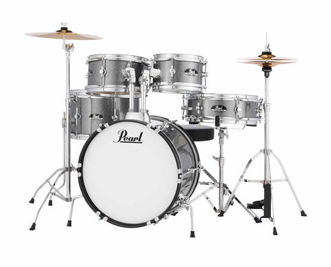 Pearl Roadshow Jr. 5 Piece Grindstone Metallic Drum Kit, Complete