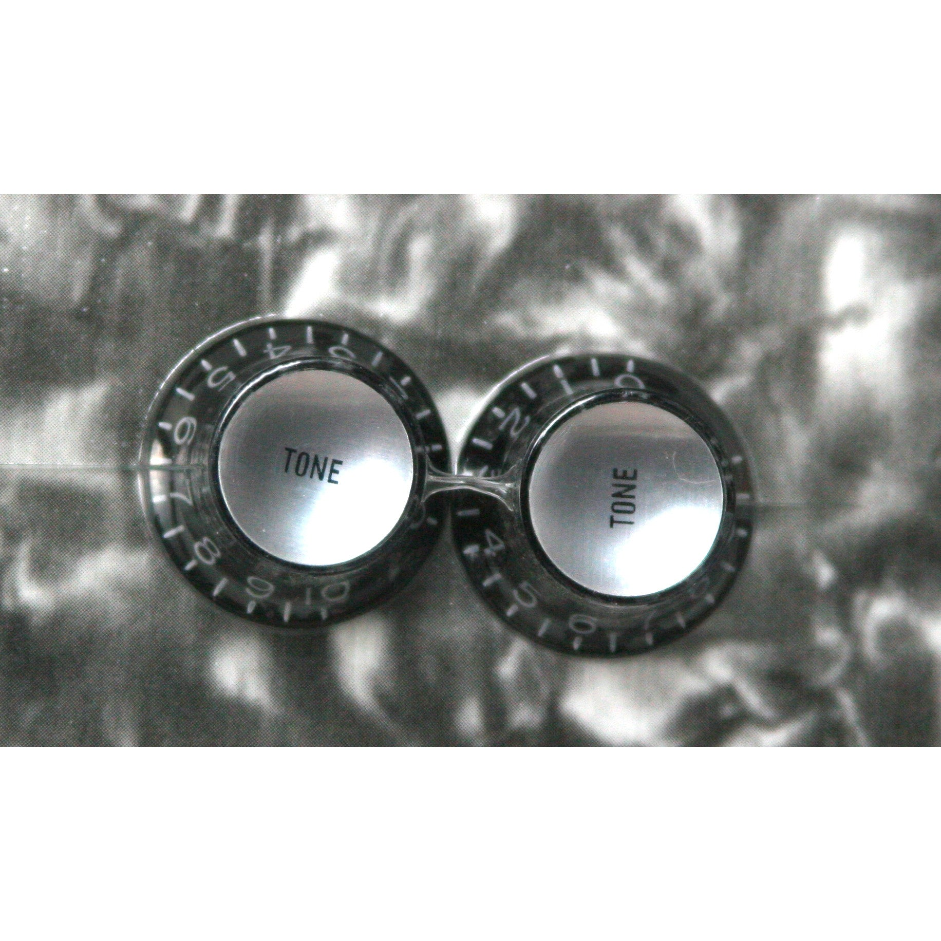 Reflector Cap (Silver) Tone Knobs (Qty 2), Black, fits USA split shaft pots.