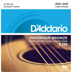 D'Addario EJ38 12-String Phosphor Bronze Lt10-47 Acoustic Guitar Strings