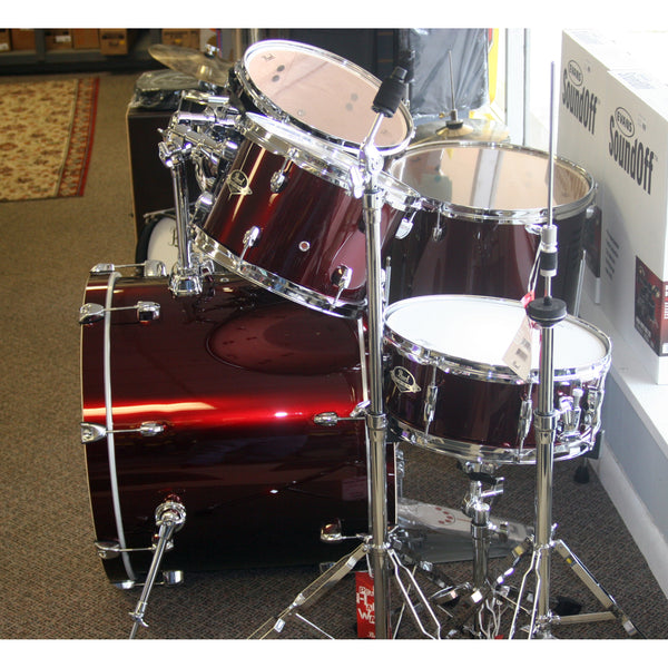 Pearl Export 5 Piece Drum Kit in Wine Red, Assembled