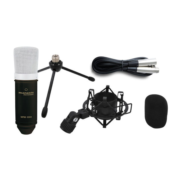 Marantz Condenser Microphone, Stand, Cable, Pop Filter, and Shock Mount