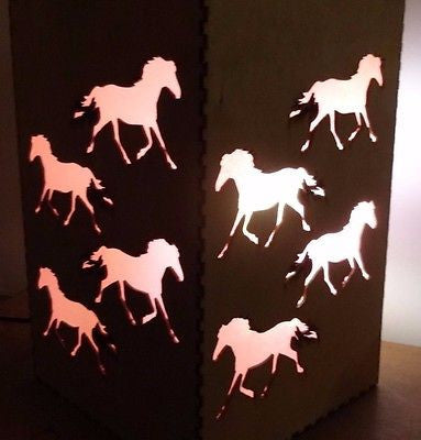 Wooden Lamp. Horse  Light  - Colored insert - LED  Unique Horsey lighting -  - 1