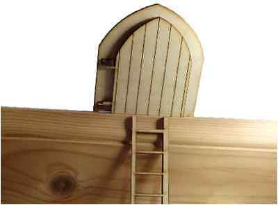 Opening Fairy Door And Ladder -  with engraved Fairy behind Door  Wooden Birch -  - 1