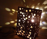 Wooden Dotty Large Table Lamp Shade -  LED lighting  spots / dots illuminating -  - 3