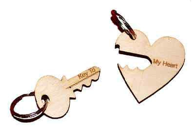 """KEY TO MY HEART"" Keyring  engraved :  HIS HERS /  Couples Gift -  - 1"
