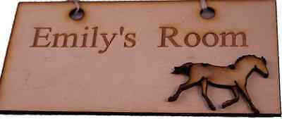 Personalised Room Sign.  Horse Design. Custom name engraved bedroom plaque, sign -  - 1