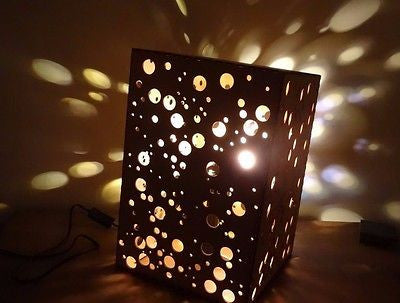 Wooden Dotty Large Table Lamp Shade -  LED lighting  spots / dots illuminating -  - 1