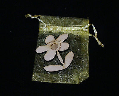 We Bloom Together - Message on a  Flower in Little Gold Bag  . Gardeners Present -  - 1