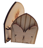Opening Fairy Door Wooden  engraved Fairy Butterfly Blank embellishment 3D -  - 2