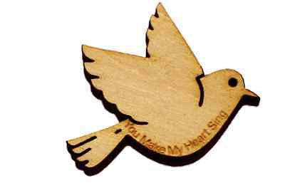 Wood Love Bird  Engraved Embelishment You Make My Heart  Sing Wedding Valentines -  - 1
