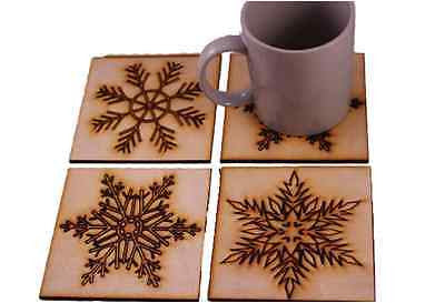 Christmas Drinks Coasters  Snowflake Design. Vintage style. Wooden set of 4 gift -  - 1