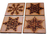 Christmas Drinks Coasters  Snowflake Design. Vintage style. Wooden set of 4 gift -  - 2