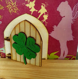 Lucky 4 Leaf Clover  - Shamrock Fairy Door  - Engraved Fairy