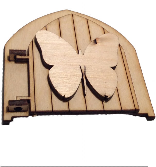 Opening Fairy Door Wooden  engraved Fairy Butterfly Blank embellishment 3D -  - 1