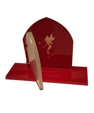 Fairy Door 3D Opening Red and White Acryic - engraved base mat Fairies Welcome - Designed by Soriska Ltd - 1