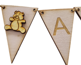 Deluxe Chalky Baby Pink  Bunting - Personalised with  Wooden Teddy Embellishment  End Flags