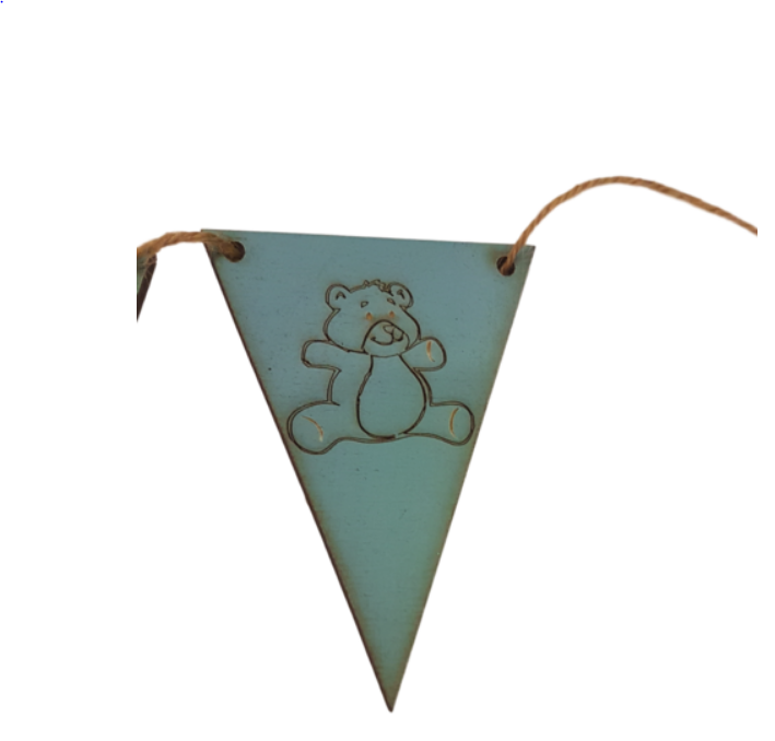 Blue Bunting  End Flags : Choice of Designs Horse - Tractor - Teddy - Unicorn -Surf Board