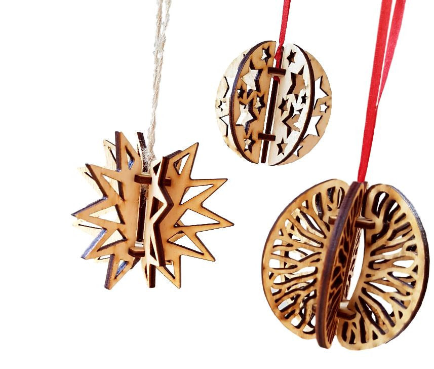 Christmas Bauble Decorations Set of 3 - Wooden