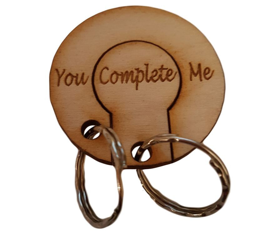 Circle of Love Couples Key Ring -  Engraved You Complete Me