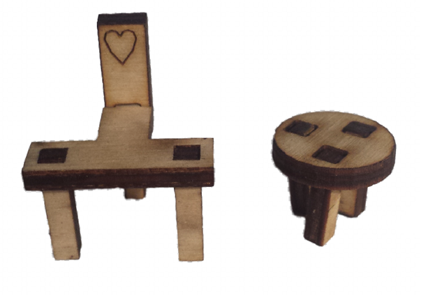 Pixie Stool and Fairy Chair Set Tiny : Fairy Door - Fairies Garden Accessory - Designed by Soriska Ltd - 1
