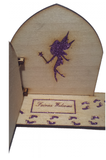 Fairy Door with Glitter Sparkle Fairy Dust Engraved Fairy Foot Prints,  and Welcome Mat Opening - Designed by Soriska Ltd - 3
