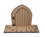 Fairy Door with Glitter Sparkle Fairy Dust Engraved Fairy Foot Prints,  and Welcome Mat Opening - Designed by Soriska Ltd - 2