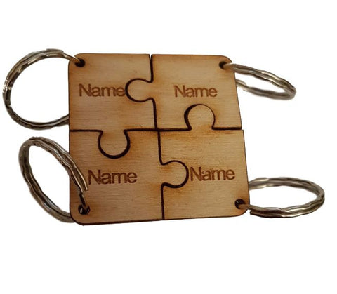 Family Friends Gift Square Personalised Keyring Jigsaw x4 Names Engraved