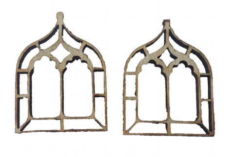 Miniature Windows Gothic Chapel x 4 : Fairy Garden Accessories / Wooden Accessory Dolls House - Designed by Soriska Ltd - 1