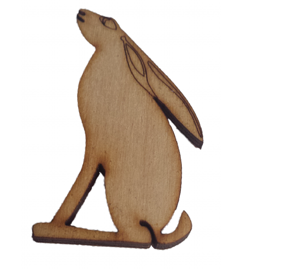 Moon Hare Embellishments  60 x 32 mm , One Ear Side  View : for Craft, Scrap-booking, Card making, Pendents - Designed by Soriska Ltd