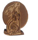 Moon Hare. Two Ear Side View.  Free Standing Wooden Craft 44 x 32 mm - Designed by Soriska Ltd - 2