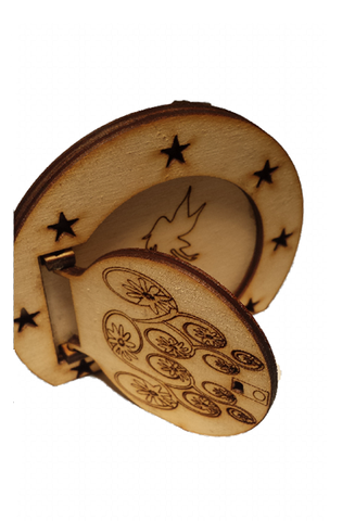 Fairy Door Round Opening Door with Star Surround and engraved Fairy - Designed by Soriska Ltd - 1