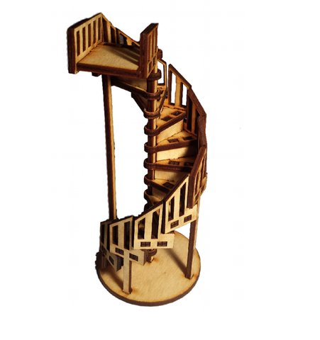 Fairy Door and  Dolls House Spiral Staircase, Ladder Stairs Accessory Wooden Banister