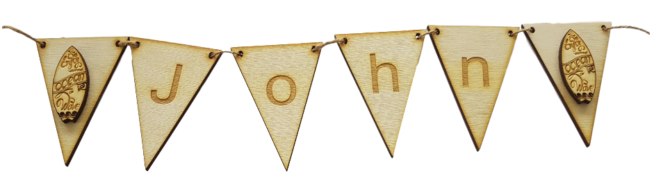 Surfs Up !! Wooden Bunting Personalised with Name and Surf Board End Flags