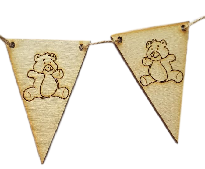Wooden Bunting  End Flags : Choice of Designs Horse - Tractor - Teddy -Unicorn -Surf Board