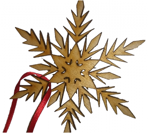 Frozen  Snowflake Christmas Tree Decoration (design 1). Made from Wooden -