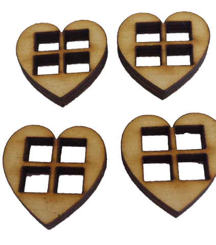 Miniature Heart Shaped Windows Set of 4 : Fairy Garden Accessories / Wooden Accessory Dolls House - Designed by Soriska Ltd - 1