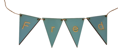 Blue Bunting Flags, Personalised Wooden - Choice of End Flags
