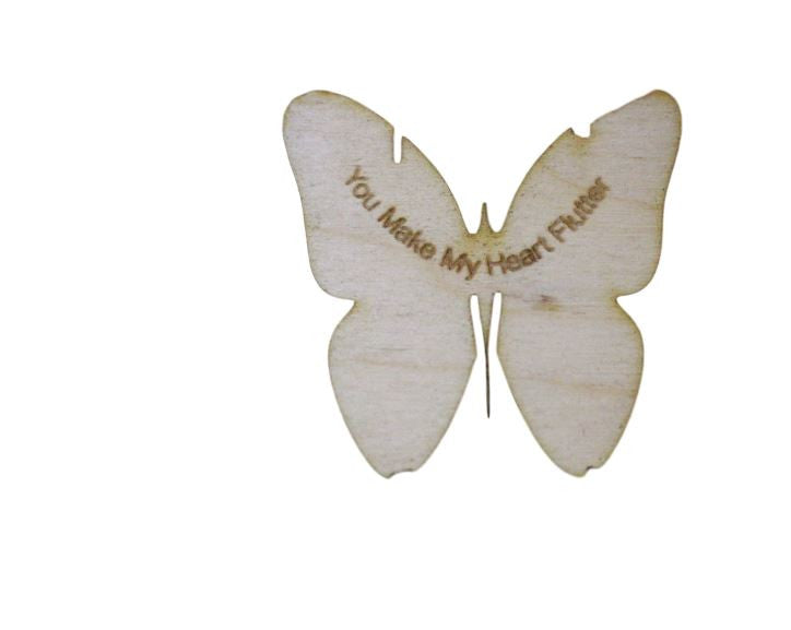 Wood Love Butterfly Embelishment You Make My Heart Flutter  Wedding Valentine