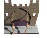 Fairy Door  Drawbridge Series Knights Castle with base engraved with crocodiles - painted - Designed by Soriska Ltd - 2