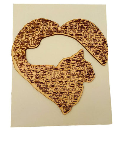 Personalised Gift Dog Cat Shaped Heart Wooden Picture Wooden