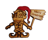 Christmas Elf with Merry Christmas Plaque Embellishment for Craft Projects