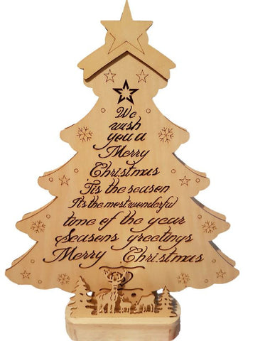 Wooden Christmas Tree Light Decoration