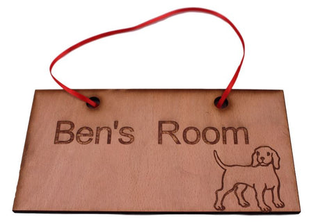 f Personalised Room Signs. Lovely  Dog Design, Customised Plaques with Name engraved