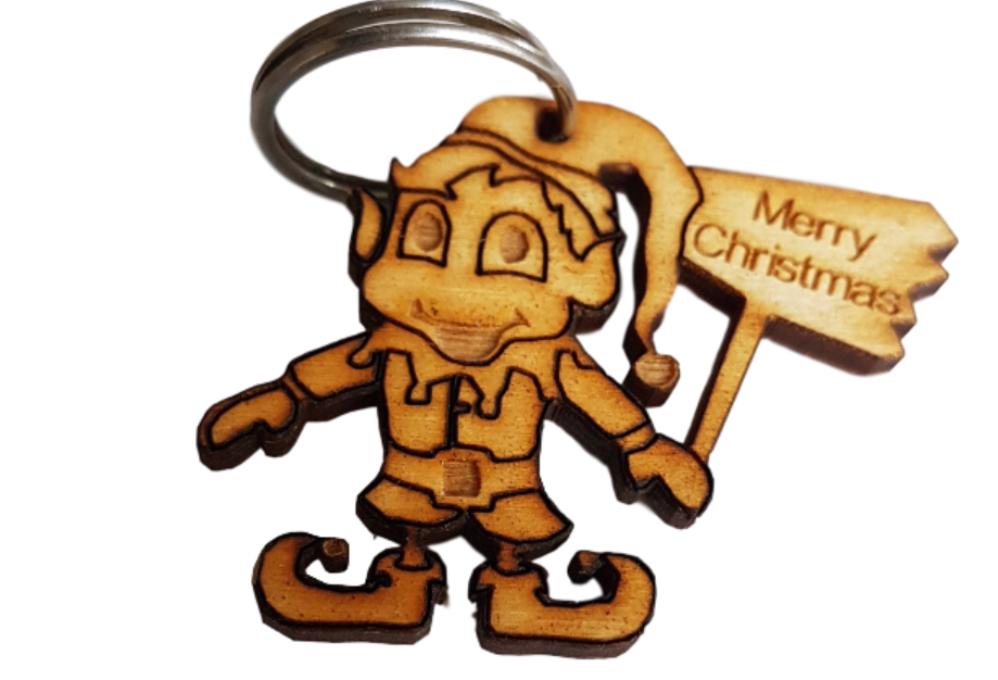 Christmas Elf  with plaque engraved Merry Christmas Keyring