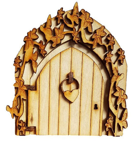 fairy door with heart butterflies and flowers
