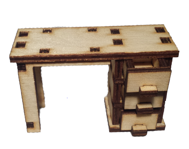 Desk:   Dolls House Furniture / Fairy Door Accessories - Designed by Soriska Ltd - 1